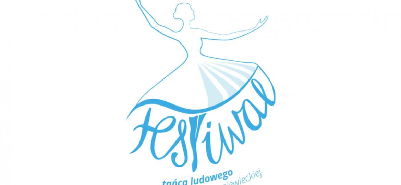 Logo pierwszego Festiwalu tańca ludowego imienia Jadwigi Hryniewieckiej. Kontur tancerki sugerujący kostium ludowy. Spódnica tancerki jest częścią litery F i litery T w słowie FESTIWAL. Grafika w kolorze jasnoniebieskim.