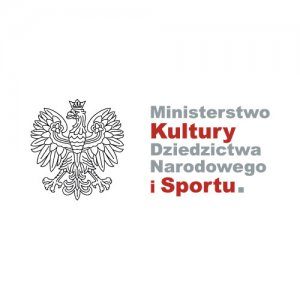 Logo Ministerstwa Kultury Dziedzictwa Narodowego i Sportu. Z lewej strony konturowa postać orła. Z prawej szaro-bordowy napis: Ministerstwo Kultury Dziedzictwa Narodowego i Sportu.